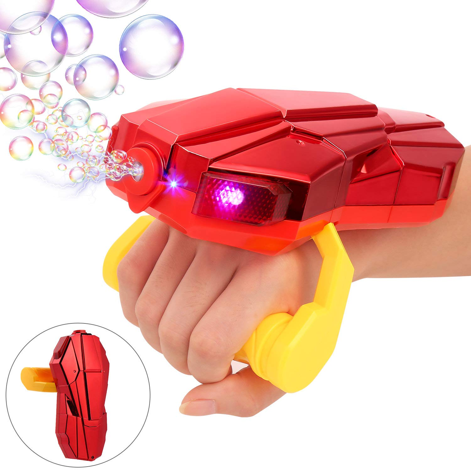 Auney Handheld Bubble Machine with Light, Automatic LED Bubble Blower Bubble Maker More Than 2000 Bubbles Per Minute, Bubble Machine for Kids, Red Bubble Toy with Sound for 1 2 3 4 5 Year Old Kids