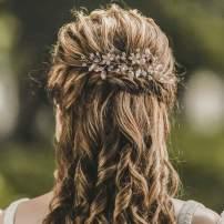 Yean Leaf Bridal Hair Vine Flower Pearl Wedding Hair Piece Rhinestone Hair Accessories for Women and Girls (Rose gold)