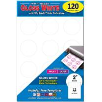 Pack of 120 Permanent Print-to-The-Edge Round Labels, Laser/Inkjet, 2-Inch, Glossy White