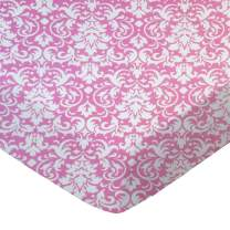 SheetWorld Fitted Sheet (Fits BabyBjorn Travel Crib Light) - Pink Damask - Made In USA