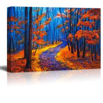 wall26 Canvas Wall Art - Vibrant Color Oilpainting Style Forest in Blue and Red - Giclee Print Gallery Wrap Modern Home Art Ready to Hang - 16x24 inches