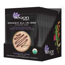 Vegansmart Plant Based Organic Protein Powder, All-in-One Nutritional Shake, Chocolate Fudge, 12 Single Serve Packets
