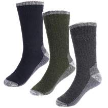 Men's Merino Wool Hiking Socks - Heavy Soft Thermal Cushion Crew Socks(Pack of 3)