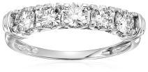 1 cttw Certified SI-I1 5 Stone Diamond Ring 14K White Gold