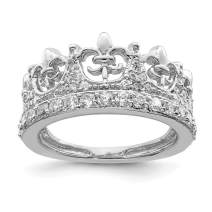 925 Sterling Silver Fleur De Lis Crown Cubic Zirconia Cz Band Ring Fine Jewelry For Women Gifts For Her