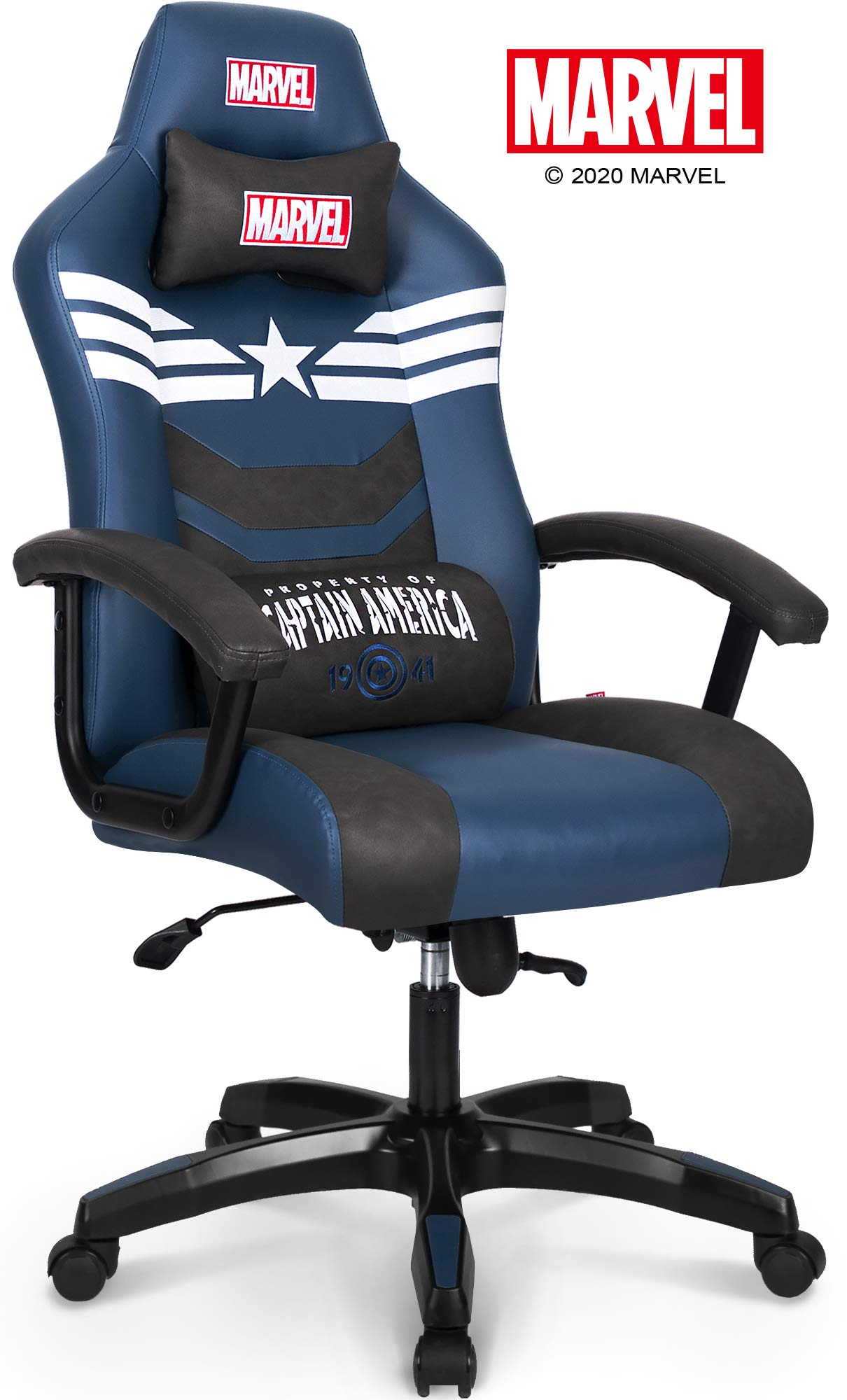Picture of: Marvel Avengers Captain America Big Wide Heavy Duty 330 Lbs Gaming Chair Office Chair Computer Racing Desk Chair Blue White Endgame Infinity War Series Marvel Legends