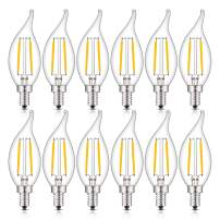 CRLight LED Candelabra Bulb 25W Equivalent 250LM, 3000K Soft White 2W Filament LED Chandelier Light Bulbs, E12 Base Vintage Edison CA11 Clear Glass Candle Bulbs, Non-dimmable Version, 12 Pack