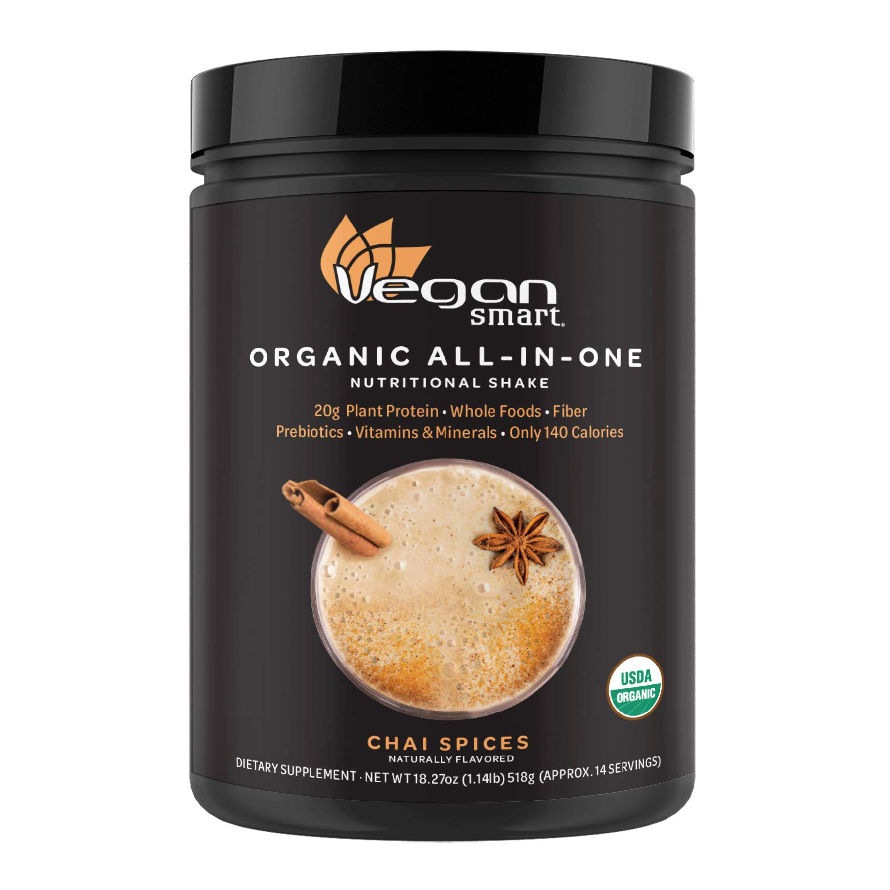 Vegansmart Plant Based Organic Protein Powder by Naturade, All-in-One Nutritional Shake - Chai Spices (14 Servings)