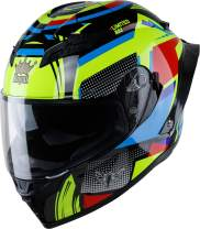Royal R03 Full Face Motorcycle Helmet with Extra Sun Visor Inside for UV Resistance, Young & Sporty Designed Spoiler - DOT Approved (Gloss Green/Blue/Red, M)