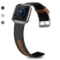 SKYLET Compatible with Fitbit Blaze Leather Band with Silver Frame, Canvas Fabric Genuine Leather Replacement Wristband Compatible with Fitbit Blaze Men Women Large Small (No Tracker)