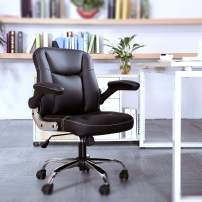 SP Mid-Back Ergonomic Office Faux PU Leather Chair Executive Computer Desk Chairs Managerial Executive Chairs (BK)