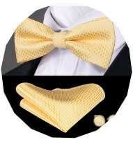 Dubulle Mens Silk Bow Tie and Pocket Square Set for Wedding Tuxedo …