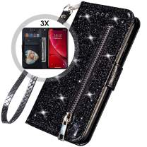 iPhone 11 Bling Wallet Case with Strap for Women,Iphone11 Glitter Case with Card Holder,Auker Sparkly Protective Folio Leather Flip Magnet Folding Kickstand Money Pocket Zipper Wallet Case (Black)