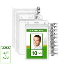 "EcoEarth Vertical PVC ID Badge Holder with Metal Clips and Vinyl Straps (Sealable Fits 3.5""x2.25"" Inserts) (Clear 10-Pack), Waterproof ID Holder, ID Card Holder Bulk, Name Badge Holder, Name Tag"