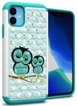 CoverON Hybrid Rhinestone Bling Aurora Series for iPhone 11 Case, Cute Teal Owl