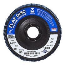 "Mercer Industries 332060 Zirconia Flap Disc, High Density, Type 29, 4-1/2"" x 7/8"" Grit 60, 10 Pack"