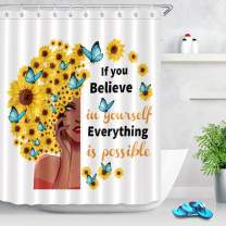 LB Sexy African Woman Shower Curtain Sunflower Butterflies with Motivation Quote Shower Curtain with Words on White Backdrop 60x72 Inch Polyester Fabric with 10 Hoooks