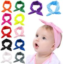 Baby Girl Headband, Fascigirl 12 PCS Dacron Hairband Knotted for Toddlers Child