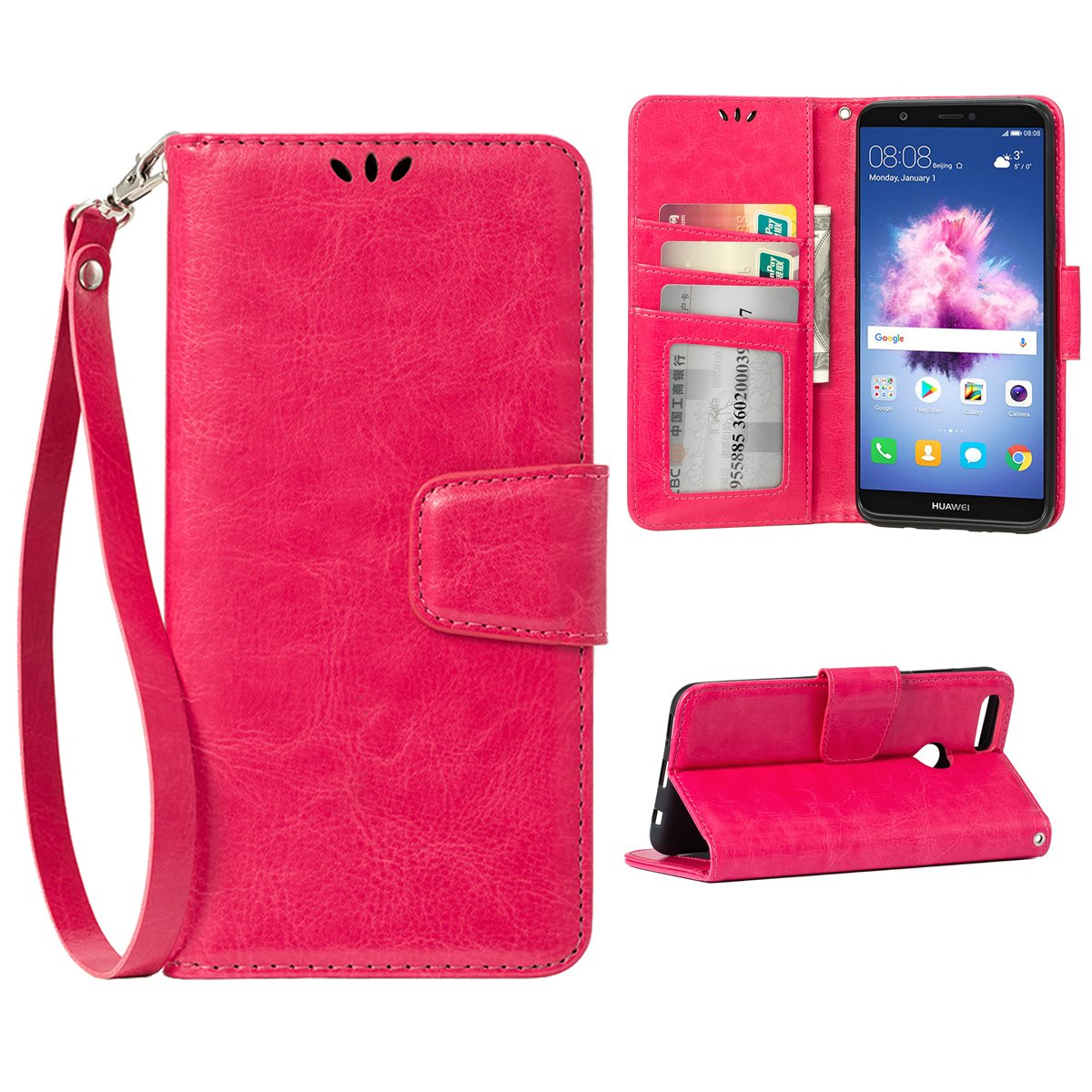 Teebo Flip case for Huawei P Smart (2018), Premium PU Leather Stand Function with Card Slots Holder Wallet Phone Protective Case for Huawei P Smart, Rose Red
