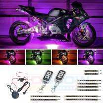 LEDGlow 10pc Advanced Million Color LED Motorcycle Accent Underlow Light Kit - 15 Solid Colors - 6 Patterns - Multi-Color Flexible Strips - Includes Waterproof Control Box & 2 Wireless Remotes