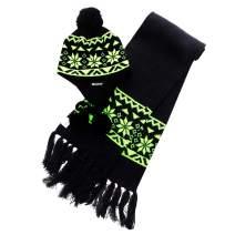Wantdo Unisex Knitted Hat Crochet Snowflake Pattern Beanie Cap with Pom Pom