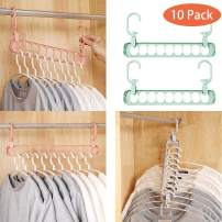 King Ma Magic Clothes Hangers - Space Saving Clothes Organizer Closet Space Saver Pack of 10 with Sturdy Plastic for Heavy Clothe (Green)