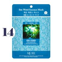 Pack of 14, The Elixir Beauty MJ Korean Cosmetic Full Face Collagen Sea Weed Essence Mask Pack Sheet for Vitality, Clarity, Mosturizing, Relaxing