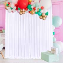 Folds-Design White Backdrop Curtain Drapes for Parties Weddings Bridal Baby Shower Fabric Photography Background Curtains with Tiebacks for Photo Booth Birthday Party Decor,2 Panels 2.5ft x 7ft