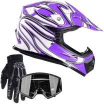 Typhoon Youth Kids Offroad Gear Combo Helmet Gloves Goggles DOT Motocross ATV Dirt Bike Motorcycle Purple & Black - Small