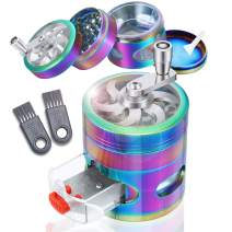 Herb Grinder, Premium 4-Piece Spice Grinder with Pollen Catcher, Zinc Alloy Manual Grinder with Handle, 2.5Inches Rainbow Grinder Hand Cranked, 2 Clean Brushes