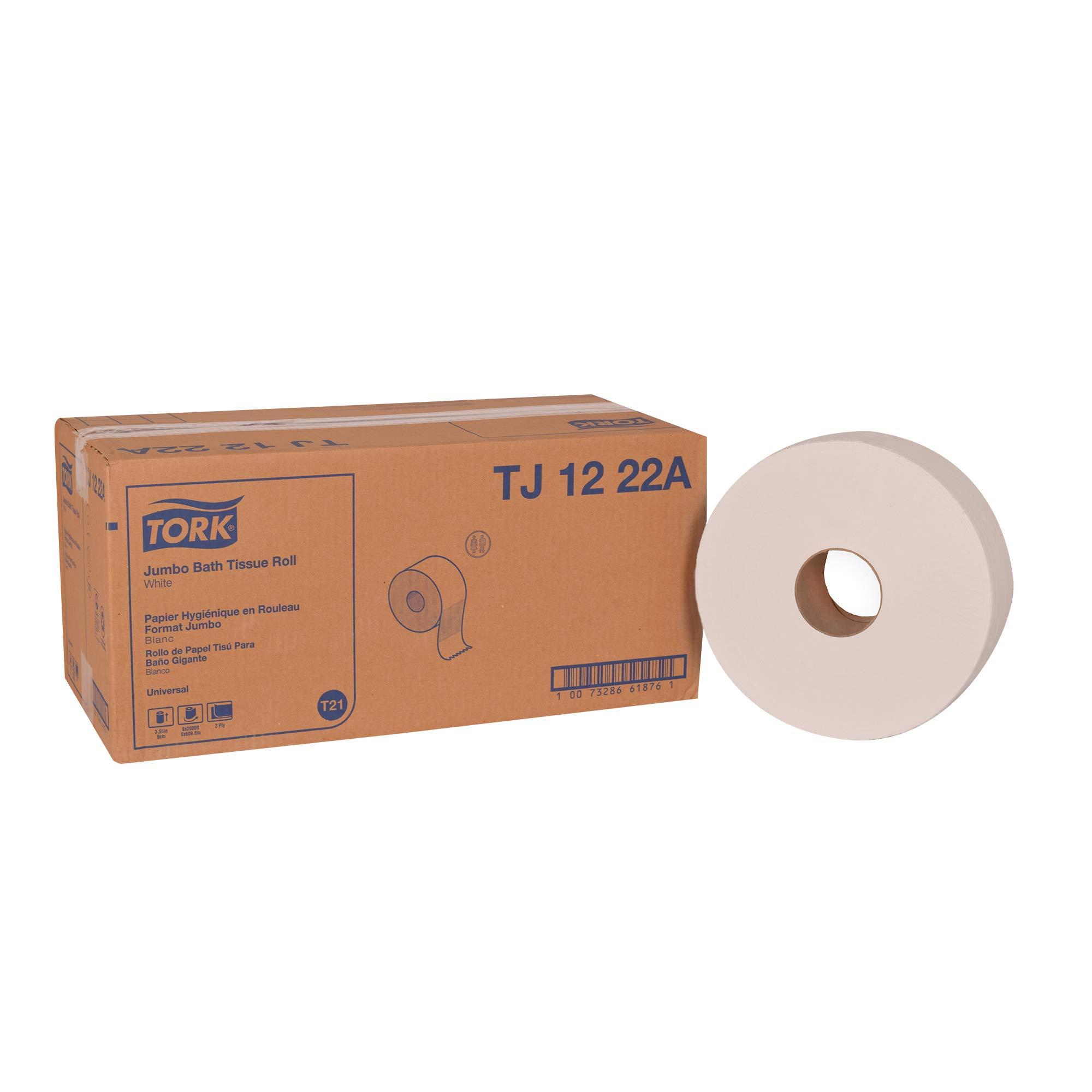 "Tork Universal TJ1222A Jumbo Bath Tissue Roll, 2-Ply, 11.75"" Dia., 3.55"" Width x 2,000' Length, White (Case of 6 Rolls, 2,000 per Roll, 12,000 Feet)"