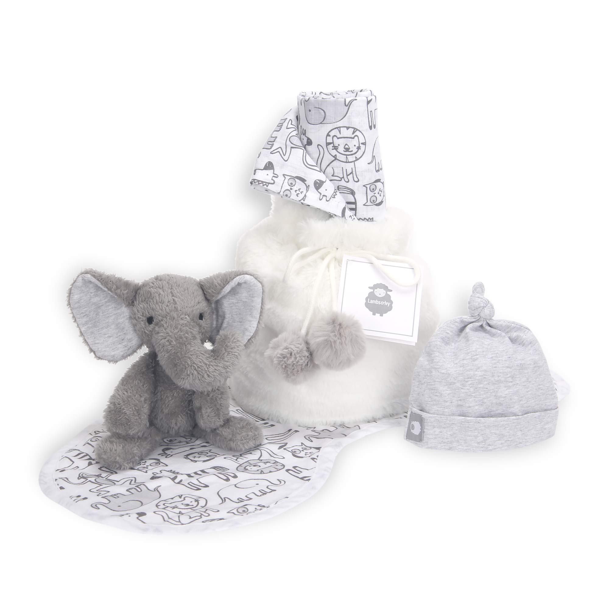 Lambs & Ivy 5 Piece Gray/White Baby Gift Bag for Infant/Newborn Baby Shower Gift