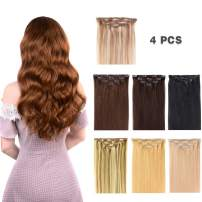 """20"""" Clip in Hair Extensions Remy Human Hair for Women - Silky Straight Long Human Hair Clip on Extensions 75grams 4pieces Light Brown #6 Color"""