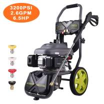 AUTLEAD Gasoline Powered Pressure Washer, 6.5HP, 120V, 2.6GPM, 3200 Psi,3.5L Gas, 2L Soap Box, Big Wheels, Muti-Use, for Cleaning Car, Patio, Wall, Furniture, Barbecue HXGSH01A