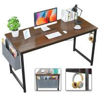 Foxemart Computer Desk Modern 39 Inch Writing Study Desk Simple PC Laptop Notebook Table with Storage Bag and Iron Hook for Home Office Workstation, Espresso