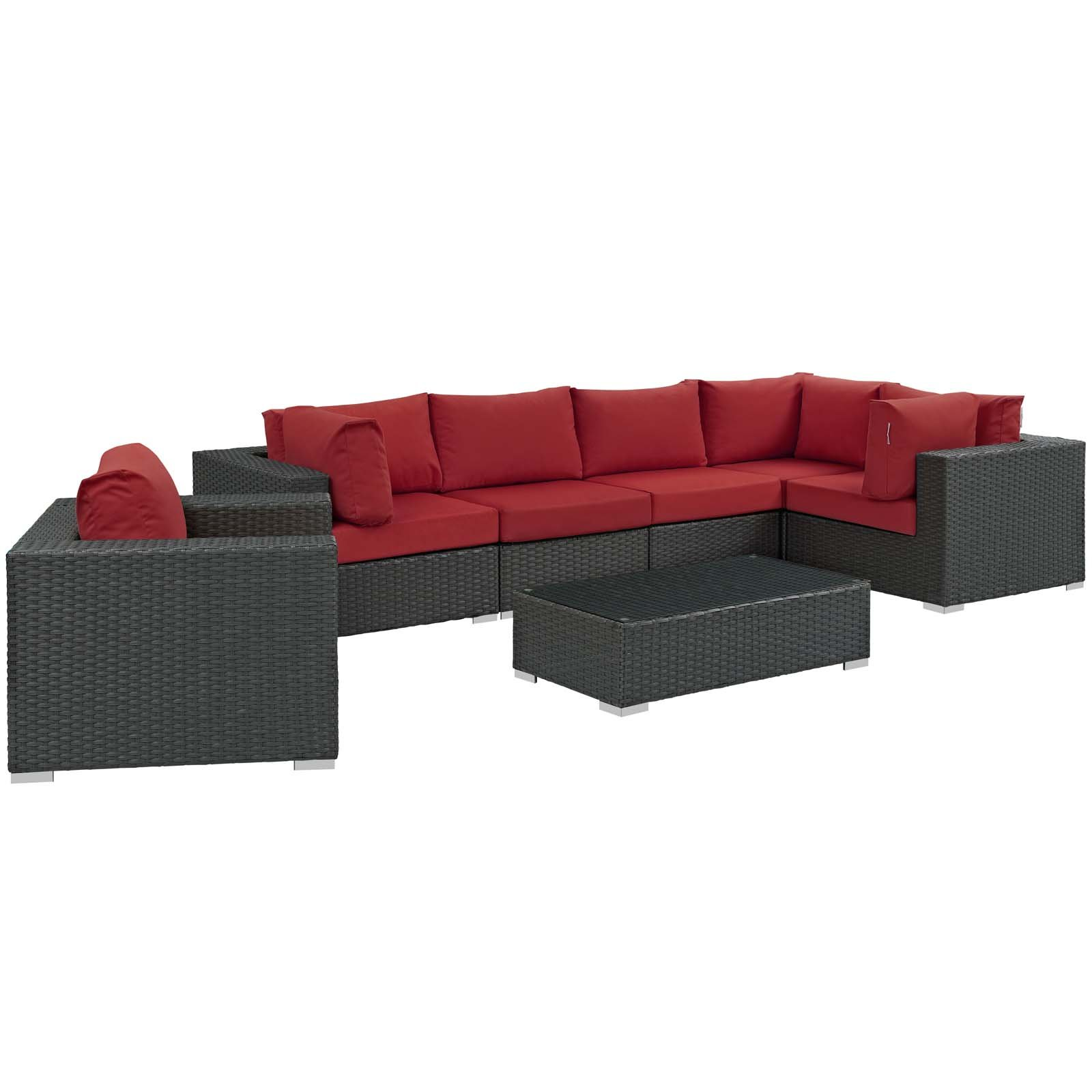 Modway Sojourn Wicker Rattan 7 Piece Outdoor Patio Sunbrella Sectional Set in Canvas Red