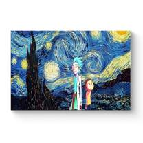 "HAOSHUNDA HSD Wall Art Rick and Morty Posters On Canvas Oil Painting Posters and Prints Decorations Wall Art Picture Living Room Wall Ready to Hang 12"" x 18"" 16"" x 24"" (12""x18""x1, Artwork-17)"