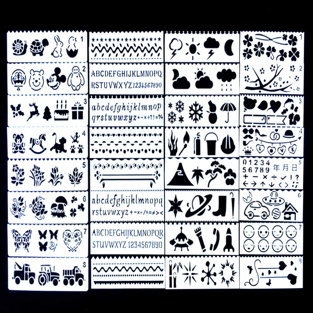 Lifetop 32 PCS Plastic Drawing Painting Stencil Templates, DIY Drawing Painting Craft Projects for Kids Crafts, Stencils for Planner/Notebook,Graffiti/Diary/Wood Painting,Card Making,Scrapbooking