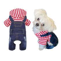 Dog Jeans Hoodies Coat Pet Clothes Denim Jumpsuit Overall Cute Dog Outfits Soft Classic Dog Jacket Blue Vintage Dog Clothes for Small Medium Dogs and Cats