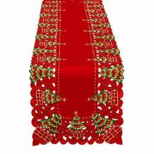 Grelucgo Embroidered Christmas Holiday Holly Tree Table Runner, Dresser Scarf, Rectangular 16 x 54 Inch