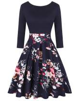 MINTLIMIT Women's Vintage Pockets 3/4 Sleeve Floral Swing Casual Party A-line Dress