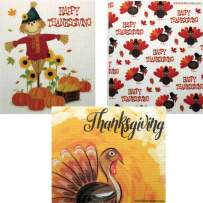 Mixed Thanksgiving B Set of 3 Cloths (one of Each Design) Swedish Dishcloths | ECO Friendly Absorbent Cleaning Cloth | Reusable Cleaning Wipes