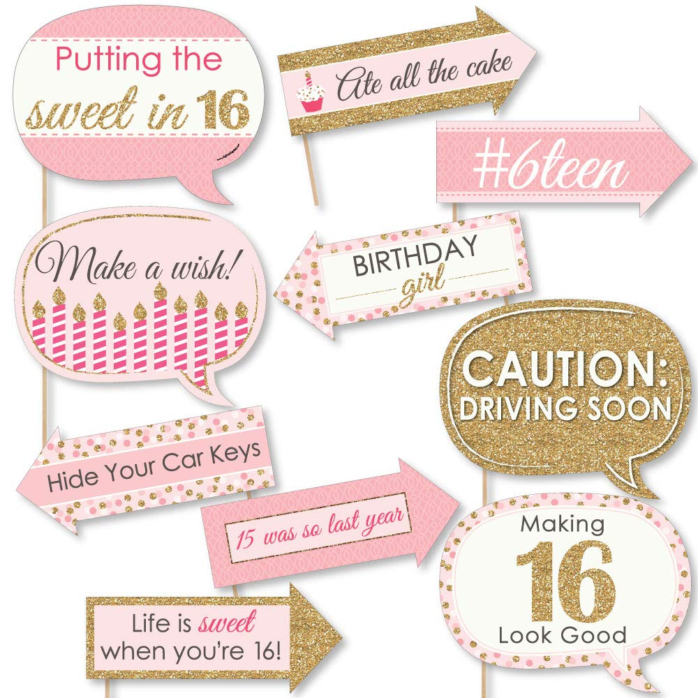 Big Dot of Happiness Funny Sweet 16-16th Birthday Party Photo Booth Props Kit - 10 Piece