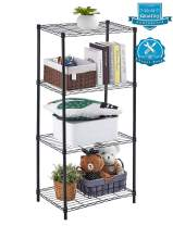 AOOU 4 Tier Shelving Unit, Wire Shelf Unit Free Standing, Classic Metal Steel Storage Rack Sturdy for use in Pantry, Living Room, Kitchen, Garage, Coated with Black