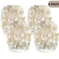 LENPOW Led Starry Fairy String Lights Super Bright Firefly Rope Lamp Twinkle Lantern 16.4ft 50 Led Waterproof 8 Modes Remote Control for Wedding Festival Decor Battery Operated (Cold White 4 pack)