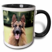 3dRose German Shepherd Two Tone Black Mug, 11 oz, Multicolor
