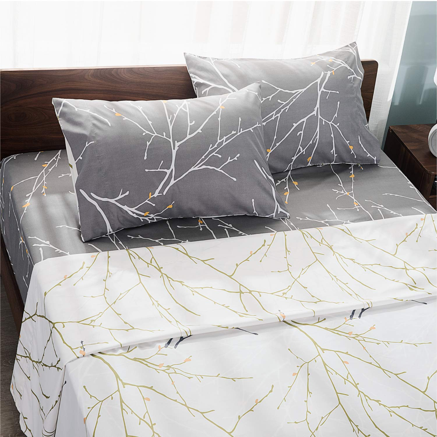 Bedsure Printed Bed Sheets Queen Size - Super Soft Brushed Microfiber, Tree Branch Patterned Sheets - 4-Pieces Sheet Set with 14-Inch Deep Pocket Fitted Sheet (Grey/Camel)
