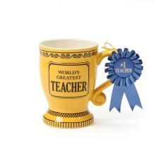 "Our Name is Mud ""World's Greatest Teacher"" Blue Ribbon Trophy Stoneware Coffee Mug, 16 oz."