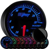 "GlowShift Elite 10 Color 30 PSI Boost/Vacuum Gauge Kit - Includes Electronic Pressure Sensor - Black Dial - Tinted Lens - Peak Recall Function - for Car & Truck - 2-1/16"" 52mm"
