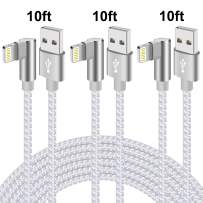 Right Angle Lightning Cable 10ft 90 Degree 3 Pack iPhone Charging Cable Durable Nylon Braided Sync Fast Charger Cable Compatible with iPhone iPhone Xs MAX XR X 8 7 (Silver White,10ft)